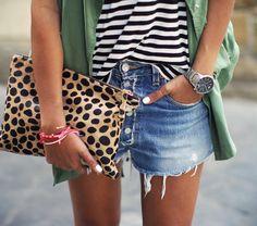 leopard clutch and stripe top