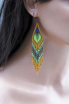 Long Seed Bead Earrings - Beaded Green Blue and Topaz - Multi-Color Fringe Earrings - 5 Inch Long Dangle Earrings - Boho