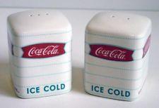 Coca-Cola Cube Design Retro Fishtail Logo Ceramic Salt & Pepper Shakers NIB