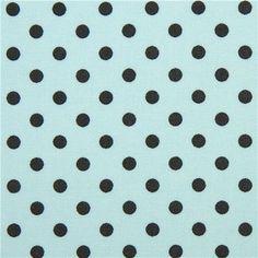 blue Michael Miller fabric dark grey polka dots