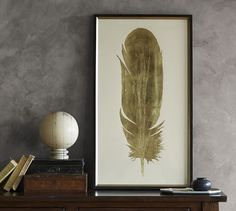 gold feather print http://www.potterybarn.com/products/gold-leaf-feather-wall-art/