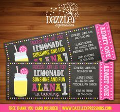 Printable Kids Pink Lemonade Ticket Birthday Invitation | Chalkboard Invite | First Birthday Poster  | Picnic Party | Spring or Summer Party | Mason Jar | Digital File | Girls Birthday Party Idea | FREE thank you card | Party Package Available | Banner | Favor Tags | Signs | Cupcake Toppers | Food and Drink Labels | www.dazzleexpressions.com