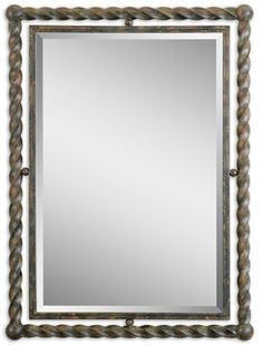 01106 Garrick Mirror Twisted Wrought Iron Rust W 26 H 35 #Rectangle