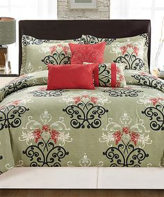 Look at this #zulilyfind! Beige & Red Paula Comforter Set #zulilyfinds