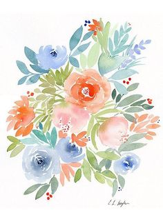 flower cards Diy Discover Flowers Painting original watercolor flowers spring florals floral wall art floral decor watercolor floral home decor nursery decor Art Floral Art Mural Floral F Watercolor Cards, Watercolor Print, Watercolor Flowers, Watercolor Paintings, Original Paintings, Painting Flowers, Watercolor Border, Drawing Flowers, Floral Paintings
