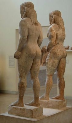 Archaic Kouroi: Cleovis and Viton (580 BC), Delphi Archaeological Museum, Delphi, Greece