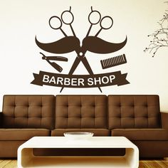 Scissors Wall Decals Comb Mustache Decal Barber Shop by DecalHouse