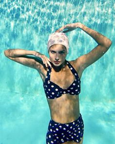 blue and white polka dot bikini, Gabor Jurina Represented By Seen Artists