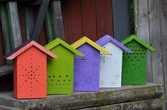 the colored insect hotels by http://www.fler.cz/zahrada-pohoda