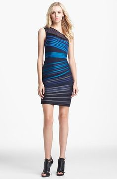 Halston Heritage Satin Stripe Body-Con Dress available at #Nordstrom $425