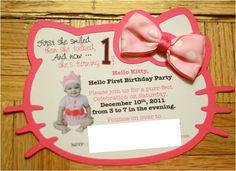 Hello Kitty Birthday Invitation.... Haleigh's 3rd birthday