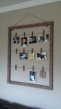 Clothes pin photo hanger - easy to switch out photos! (I'd probably just use an old picture frame.)