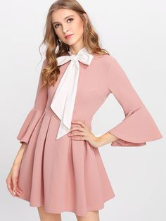 4d17e73210d3 To find out about the Ruffle Sleeve Tied Neck Box Pleated Textured Dress at  SHEIN