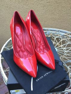 Gorgeous BRIAN ATWOOD Red Patten Hills Shoes Platform Size 8 #BrianAtwood #PumpsClassics #Any