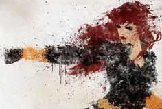 Black Widow splatter art.