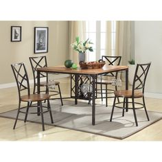 Baxton Studio Vintner Rustic Wood/Black Dining Set With Dining Table Kitchen Dining Sets, 5 Piece Dining Set, Dining Room Sets, Dining Decor, Dining Tables, Studio Furniture, Unique Furniture, Kitchen Furniture, Wood Furniture