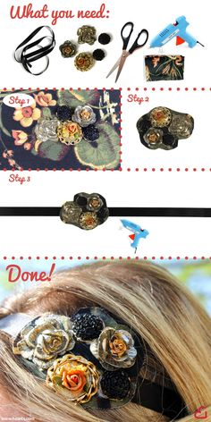 DIY Brooch Headband, and materials needed to create this cute look.