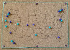 Bulletin board travel pins: print out a map and cut out the states then outline!