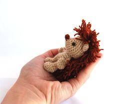 HEDGEHOG animal doll, miniature hedgie, little amigurumi porcupine, crocheted…