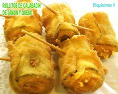 rollitos de calabacín de jamón y queso, una delicia! Baked Potato, Tapas, Baking, Ethnic Recipes, Gastronomia, Amor, Cheesy Potatoes, Chicken Drumsticks, Salsa Chicken
