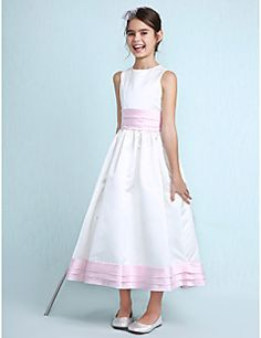 63894b4719   69.99  A-Line   Princess Jewel Neck Knee Length Satin Junior Bridesmaid  Dress with Sash   Ribbon   Ruffles   Ruched by LAN TING BRIDE®   Spring    Summer ...