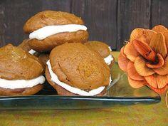 Pumpkin woopie pies with maple cinnamon cream cheese frosting