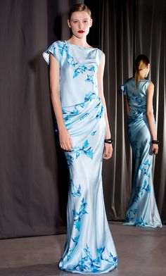 Isabel Garcia MAIN-LINE ss15 Silk Evening Dress with Draped Waist and One Short Sleeve