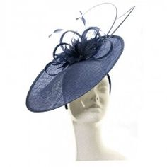 Chapeau de mariage fleur bleu marine