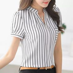 2016 Summer fashion stripe shirt female V-neck short-sleeve chiffon women blouse office formal Business plus size work wear tops Top Chic, Dress Picture, Corsage, Blouse Designs, Blouses For Women, Work Wear, Ideias Fashion, Plus Size, Fashion Outfits
