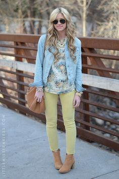 soft yellow and faded denim