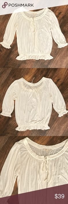 "Soft Joie Ivory Gathered Pleaded Peasant Top M O1 Bust: 23"" Length: 25""  Condition: No Rips; No Stains  100% Viscose   📦Orders are shipped within 24hrs! {Except weekends}📦  🚫No Trades🚫No Holds🚫 Joie Tops Blouses"