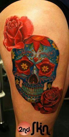 Flowers crown tattoo sugar skull 61 Ideas for 2019 Skull Thigh Tattoos, Sugar Skull Tattoos, Sugar Skull Art, Sleeve Tattoos, Sugar Skulls, Names Tattoos For Men, Baby Tattoos, Tattoos For Women, Tattoo Life