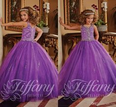 2016 New Purple Girls Pageant Dresses Square Neck Bling Crystal Beaded Ball Gown Long Corset Kids Flower Girls Dress Birthday Communion Gown Online with $79.4/Piece on Yes_mrs's Store | DHgate.com