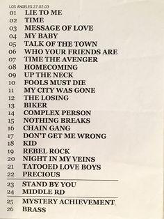 The Pretenders 2003 LA setlist