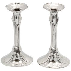 Beautiful Pair of Sterling Silver Art Nouveau  Candlesticks