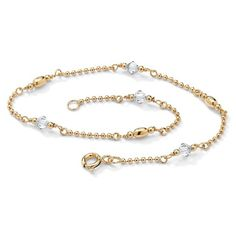 PalmBeach Jewelry Birthstone Beaded Ankle Bracelet in 14k Gold over... (59 AUD) ❤ liked on Polyvore featuring jewelry, bracelets, jewelry & watches, birthstone jewelry, ankle bracelets, 14k bangle, sterling silver ankle bracelets and yellow gold bangle