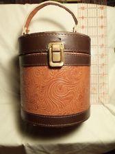 Vintage WOOD & LEATHER HANDBAG or PURSE Brass Hardware Leather Handles