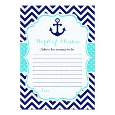 Nautical Anchor Blue and Navy Words of Wisdom Card - invitations personalize custom special event invitation idea style party card cards