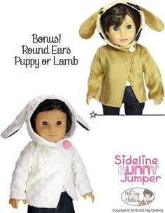 18 inch doll clothes pdf sewing pattern bunny sweater top designed to fit American Girl. Pattern by Doll Tag Clothing.