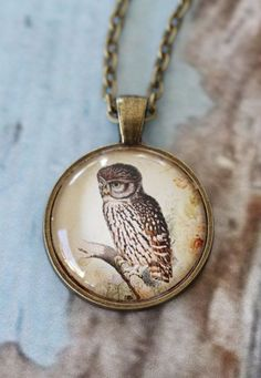 Spying Owl Pendant Necklace. Vintage owl