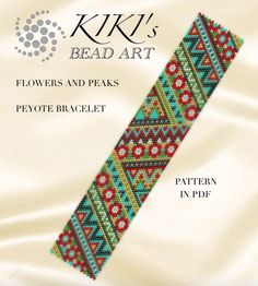 Pattern, peyote bracelet - Flowers and peaks peyote bracelet cuff pattern in PDF instant download