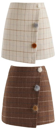 Strolling With Vitality Grid Flap Bud Skirt in Sand/Brown