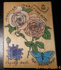 """Never Used """"Rubber Stampede"""" English Rose Cottage Stamp 4 7/8 x 4 3/4 Inch Rubber Block Stamp"""