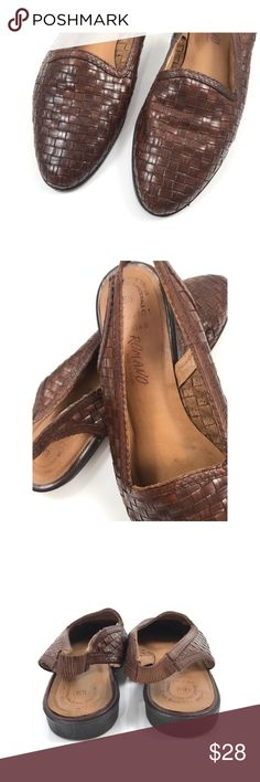 Vintage brown leather woven sling backs by ROMANO Vintage brown leather basket weave sling back shoes by ROMANO. Made in Brazil. Bottoms look unworn. Size 8.5. Vintage Shoes Flats & Loafers