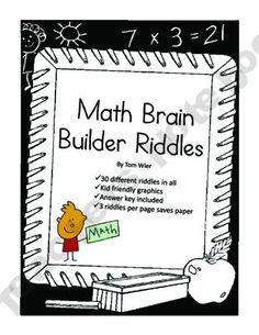 Math Brain Builder Riddles - 30 Mini Test Prep Activities