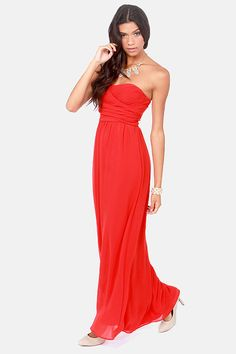 LULUS Exclusive Slow Dance Strapless Red Maxi Dress at LuLus.com!