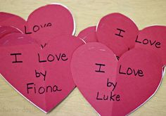 "preschool valentine activities - children loved their finished ""I Love"" books"