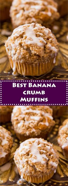 Best Banana Muffins Recipe is packed with banana flavor and the brown sugar streusel (crumb) topping is divine. If you want to indulge a little m. Best Banana Muffin Recipe, Simple Muffin Recipe, Healthy Banana Bread, Banana Recipes To Freeze, Köstliche Desserts, Delicious Desserts, Dessert Recipes, Desserts With Bananas, Baking With Bananas