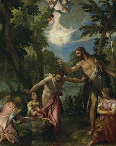 esta pintura relata el bautizo de Jesús a los hombres y mujeres de Belén