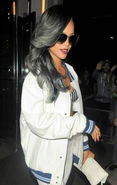 Rihanna - Grey Ombre Hair. Thinking this could be my new do, if it's do able. I need something new. maybe this coil be a start